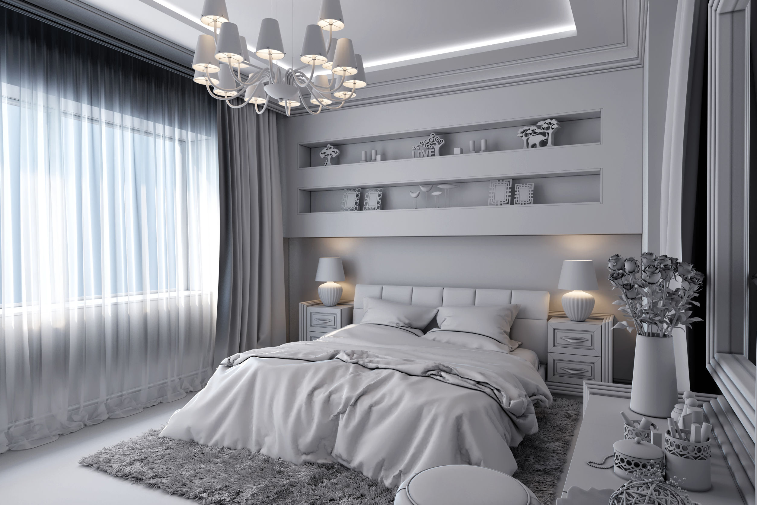 49154829 - 3d render of a white bedroom in classical style